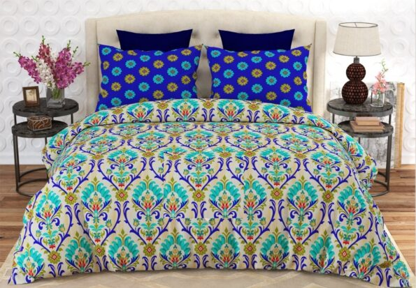 Pattern Printed Sheet With 2 Pillow Covers – 3 PCS