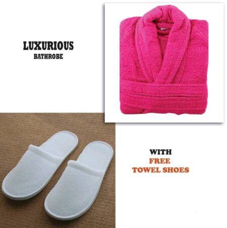 Pink Bathrobe for Women ( 4 PCS Set )