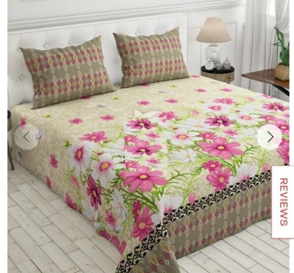 Pink Flowers Printed Sheet With 2 Pillows