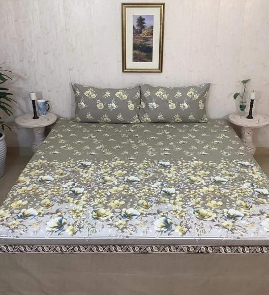 Printed Bed Sheet With 2 Pillow Covers – 3 PCS