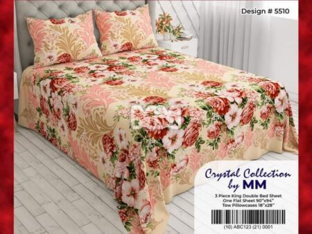 Printed Brown Sheets With 2 Pillow Covers – 3 PCS