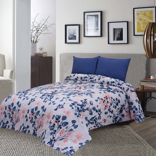 Printed leaf bed sheet king 95 x 100″ 2 pillow covers