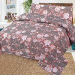 Red Grey Printed Bed Cover With 2 Pillows – 3 PCS