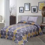 Yellow Grey Bed Sheet King 95 X 100″ 2 Pillows