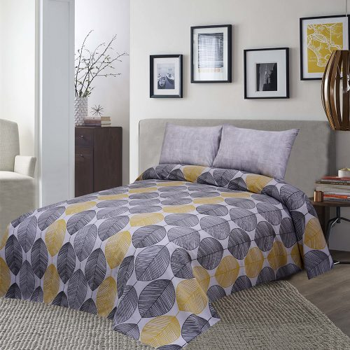 Yellow Grey Bed Sheet King 95 X 100″ 2 Pillows