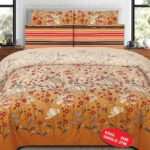 Yellow Peach Printed Bedding With 2 Pillow Covers – 3 PCS