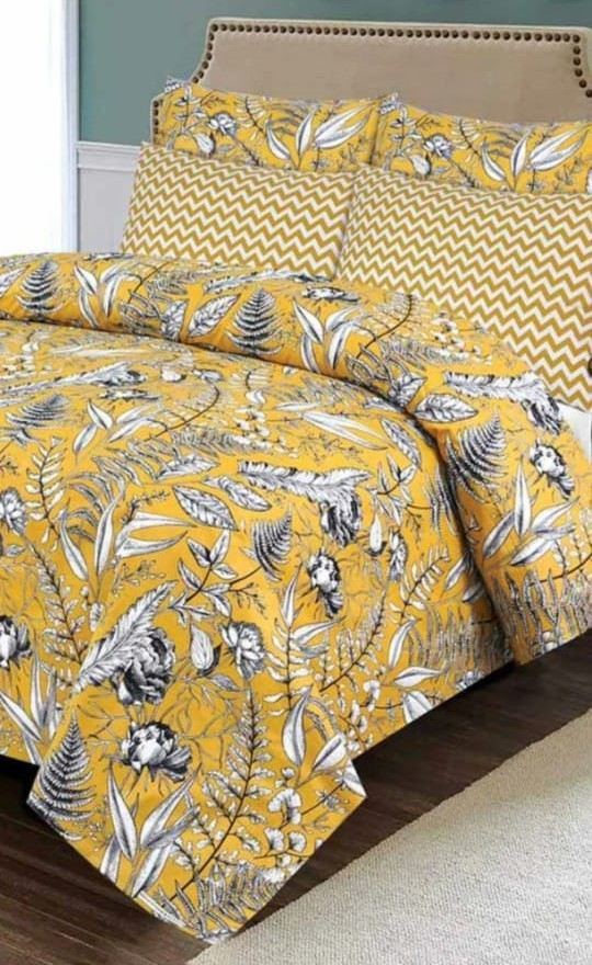 Yellow Printed Bed Sheet With 2 Pillow Covers – 3 PCS
