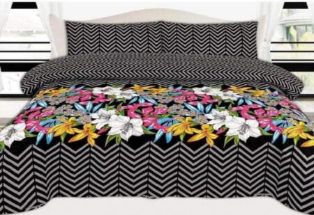 Black Grey Lining Bedding With 2 Pillow Covers – 3 PCS