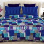 Blue Box Bed Sheet With 2 Pillow Covers – 3 PCS