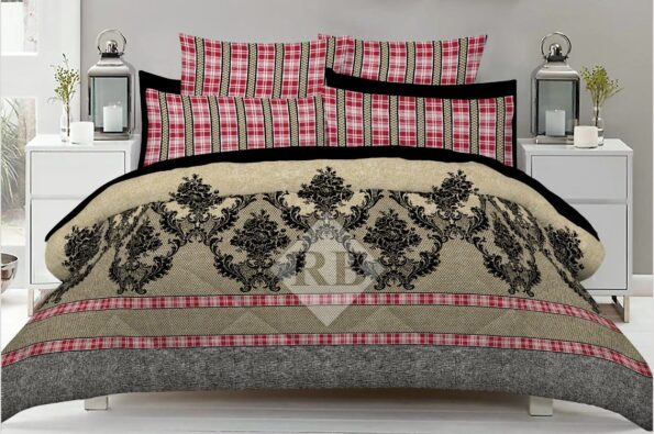Brow Grey Dotted Red lining Bed Sheet