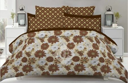 Brown White Bed Cover With 2 Pillows – 3 PCS