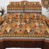 Brown Yellow Printed Bed sheets