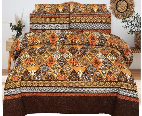 Brown Yellow Printed Bed sheets