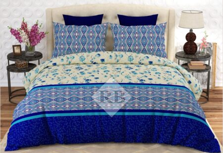 Dark Blue Print Bed Sheet With 2 Pillow Covers – 3 PCS