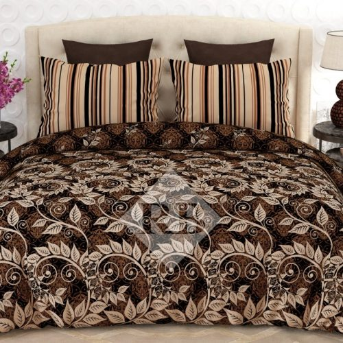 Dark Brown Printed Bedding Set With 2 Pillow Covers – 3 PCS