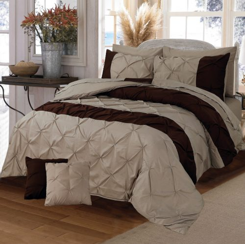 Dark and Light Brown Double Duvet Cover Set 8PCS