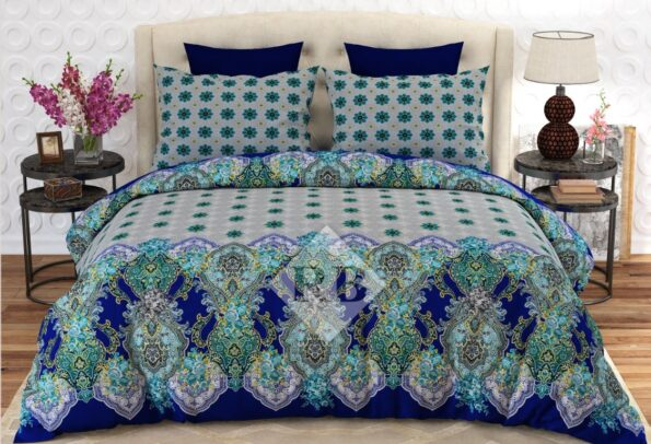 Green Grey Blue Printed Bedding With 2 Pillow Covers – 3 PCS