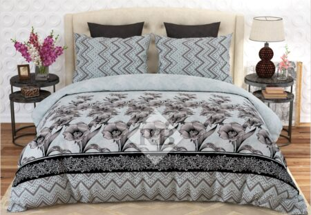 Grey Black Self Print Bed Sheet With 2 Pillow Covers – 3 PCS
