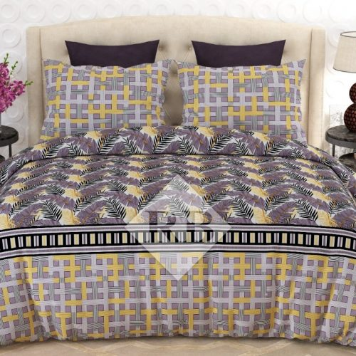 Grey Yellow Printed Bedding Set With 2 Pillow Covers – 3 PCS