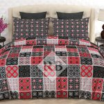 Red Black Box Printed Sheet With 2 Pillow Covers – 3 PCS