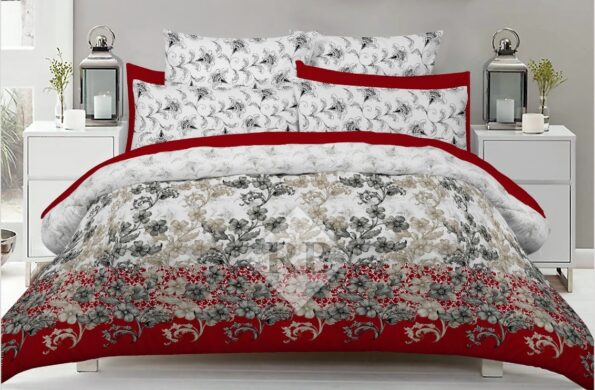 Red White Bed Cover With 2 Pillows – 3 PCS