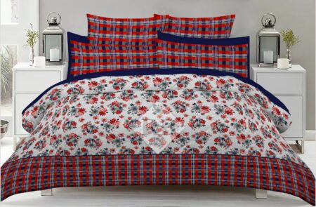 Red lining Flowers Bed Sheet With 2 Pillow Covers – 3 PCS