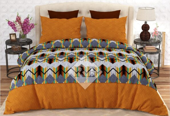 Yellow Border Multi Color Bedding With 2 Pillow Covers – 3 PCS