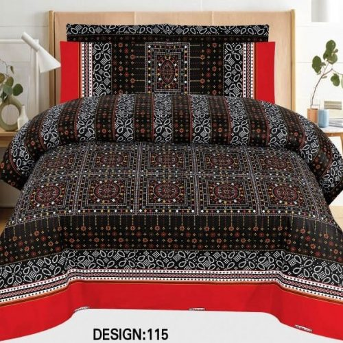 Black Red Khaadi Bed Cover With 2 Pillows – 3 PCS