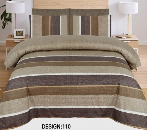 Brown Grey lining Khaadi Bed Sheets With 2 Pillow Covers – 3 PCS