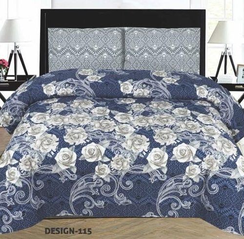 Dark Blue Gray Bed Sheets With 2 Pillow Covers