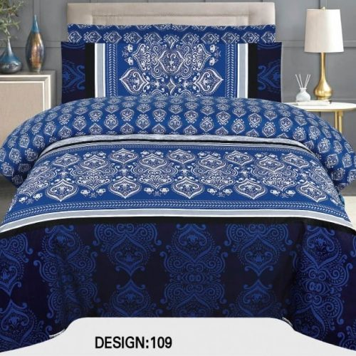 Dark Blue Khaadi Bed Set With 2 Pillows – 3 PCS