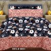 Dark Blue Pink Border Sapphire Bed Cover With 2 Pillows – 3 PCS
