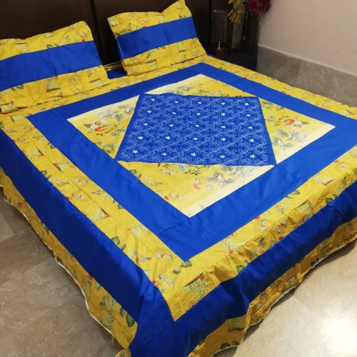 Embroidered Printed Sheet With 2 Pillow Covers