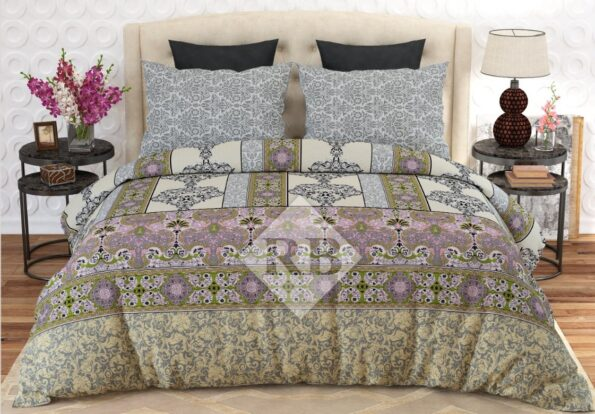 Light Brown Printed Dynasty Bed Cover With 2 Pillows – 3 PCS