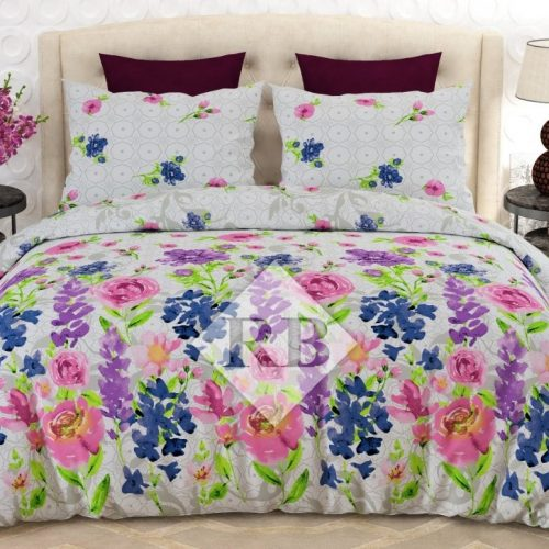Light Flowers Printed Dynasty Bedding With 2 Pillow Covers – 3 PCS