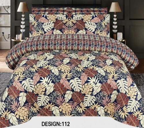 Multicolor Leaf Khaadi Bed Cover With 2 Pillows – 3 PCS
