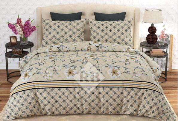 Off White Printed Comforter Set ( 6 PCS – 8 PCS )