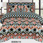 Orange Black Khaadi Bedding Set With 2 Pillow Covers – 3 PCS