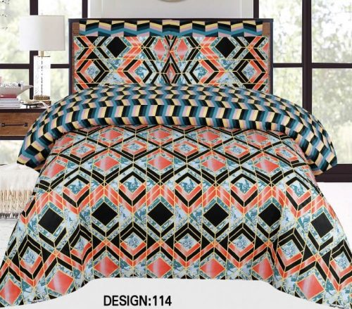 Orange Black Khaadi Bedding Set With 2 Pillow Covers – 3 PCS