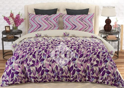 Purple Leaf Printed Dynasty Bed Sheet With 2 Pillow Covers – 3 PCS