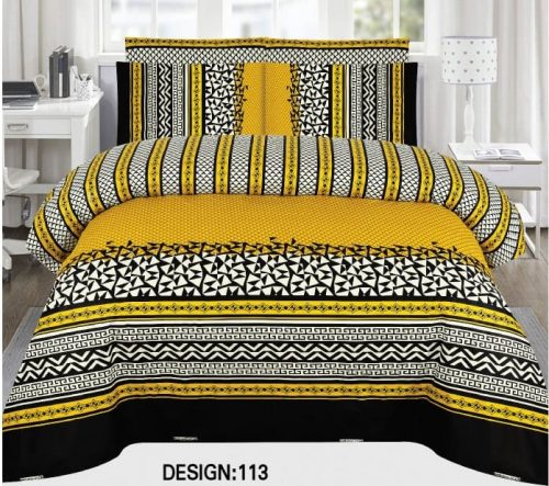 Yellow Black Khaadi Bed Cover With 2 Pillows – 3 PCS