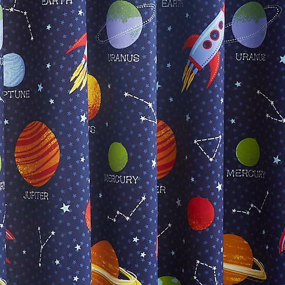 Space Blue Blackout Curtains 1
