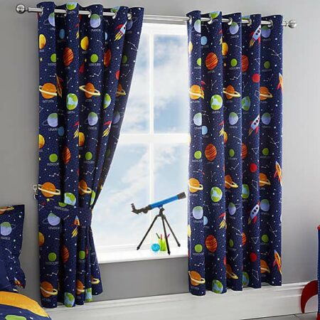 Space Blue Blackout Curtains