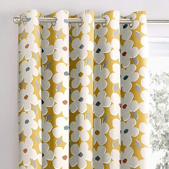 White Flower Blackout Curtains