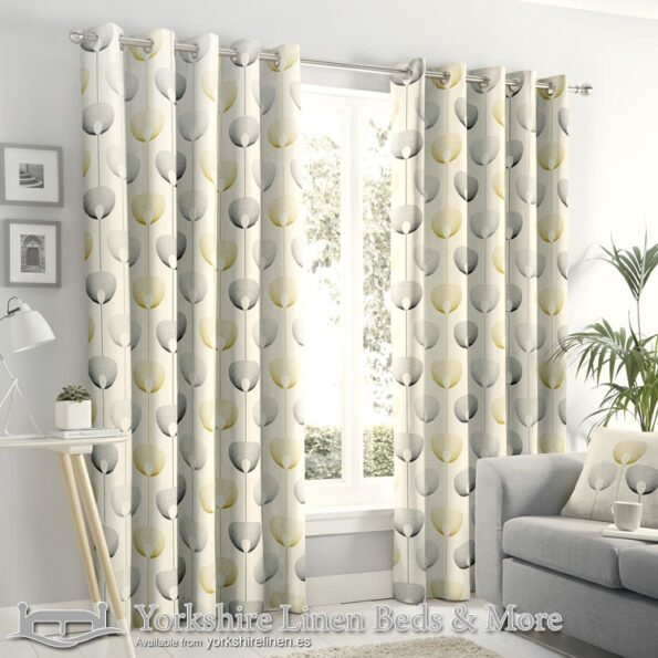 White Yellow Design Blackout Curtains