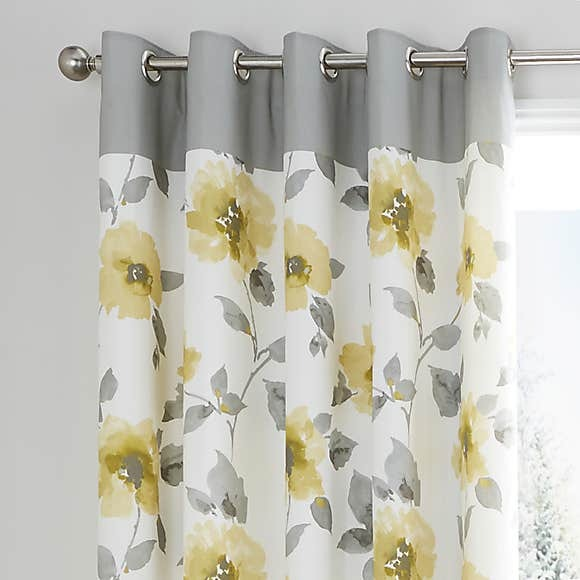 Yellow Flowers Blackout Curtains 1