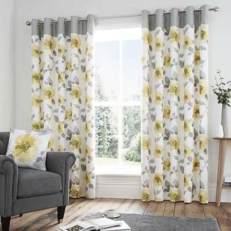 Yellow Flowers Blackout Curtains