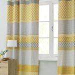 Yellow White Blackout Curtains