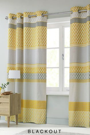 Yellow White Blackout Curtains
