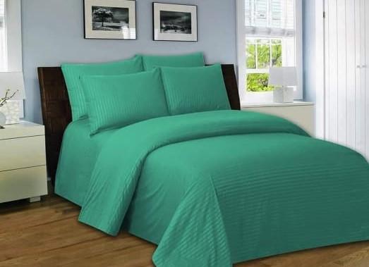 Light Green Bed Sheet With 2 Pillows